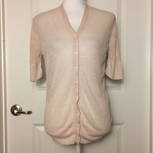 COS Blush Pink Linen Blend Ribbed Cardigan Sz L